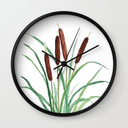 cattails plant Wall Clock