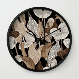 Lush lily - russet Wall Clock