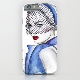 Woman in blue iPhone Case