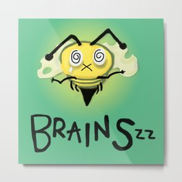 Zombie Bee/Zom-BEE - BRAINS. Metal Print
