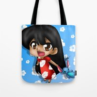 lilo and stitch Tote Bags featuring Lilo and Stitch (chibi) by HaruShadows