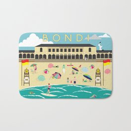Bondi Beach Vintage Style Art Print Bath Mat