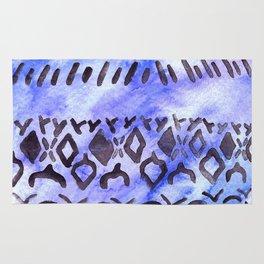 Tribal Pattern on Blue & Purple Watercolor Rug