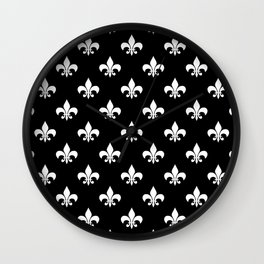 White royal lilies on a black background Wall Clock