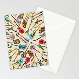Electric Guitars Pattern Watercolor Stationery Cards