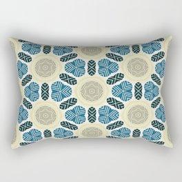 ink blue trinkets on beige khaki pattern Rectangular Pillow