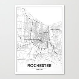 Minimal City Maps - Map Of Rochester, New York, Untited States Canvas Print