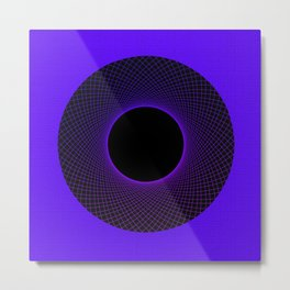 Blueberry Vortex Black & Blue Circular Design Metal Print