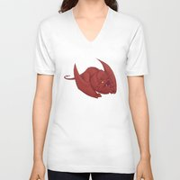 smaug V-neck T-shirts featuring Baby Smaug - Textless by Kinsei