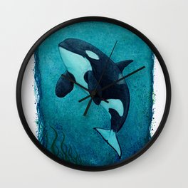 """The Matriarch"" by Amber Marine ~ Orca / Killer Whale (J2 Granny) Watercolor Art, (Copyright 2016) Wall Clock"