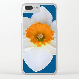 DECORATIVE ORANGE CENTERED WHITE DAFFODIL TEAL ART Clear iPhone Case