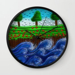 Beaded landscape Textured abstract with sea waves in the foreground and trees Wall Clock
