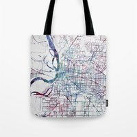 memphis Tote Bags featuring Memphis map by MapMapMaps.Watercolors