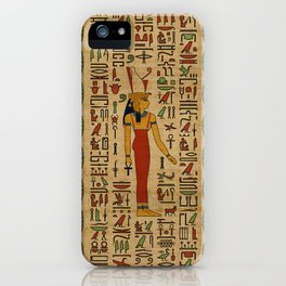 Egyptian Mut Ornament on papyrus iPhone Case