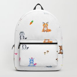 Cute pink blue orange watercolor animal pattern Backpack