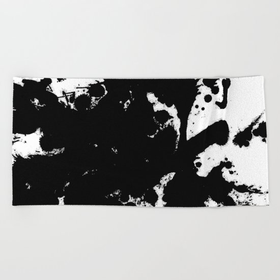 Black and white splat - Abstract, black paint splatter painting Beach Towel