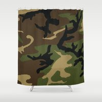 camo Shower Curtains featuring Camo by gypsykissphotography