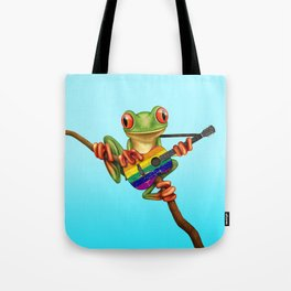 Tree Frog Playing Acoustic Guitar with Gay Pride Rainbow Flag Tote Bag