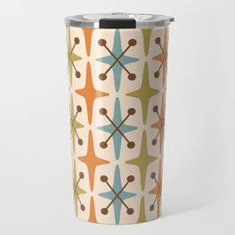 Mid Century Modern Abstract Star Pattern 441 Orange Brown Blue Olive Green Travel Mug