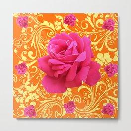 PINK ORANGE  ROSE SCROLLS GARDEN ART PATTERN Metal Print