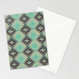 Subway Tracks Kaleidoscope Geometric Pattern - Mint Chocolate Colors Stationery Cards