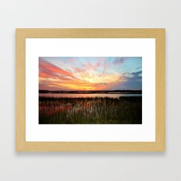 Sunset And Reflections Framed Art Print