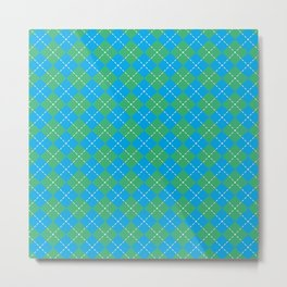 Argyle Pattern | Blue and Green Metal Print