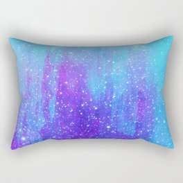 Space Ice Starfield Blue and Purple Rectangular Pillow