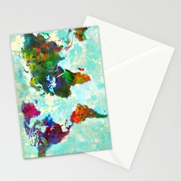 Abstract Map of the World Stationery Cards