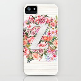 Initial Letter Z Watercolor Flower iPhone Case