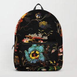 Midnight Red Blue Gold Flower Backpack