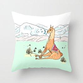 Spitting llama Throw Pillow