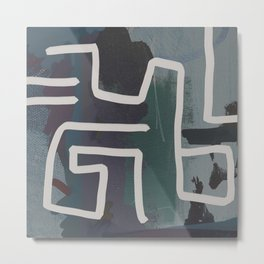Muted Blue and Green Painting with Abstract White Line Metal Print