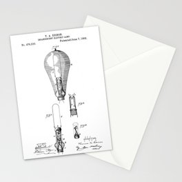 patent art Edison 1892 Incandescent electric lamp Stationery Cards