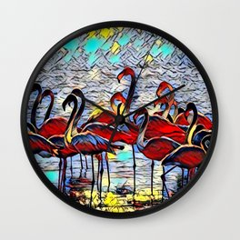 Color Kick Flamingos Wall Clock