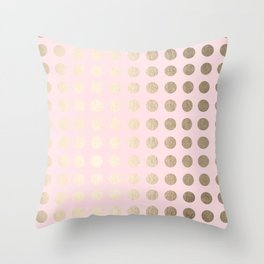 Simply Polka Dots White Gold Sands on Flamingo Pink Throw Pillow