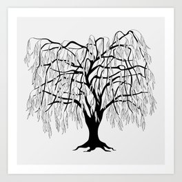 weeping willow on the gray background Art Print