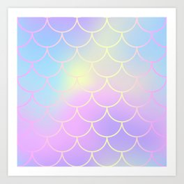Pink Blue Mermaid Tail Abstraction Art Print