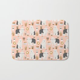 Old English Sheepdog gifts for dog lover with dog breed pet portraits by pet friendly Bath Mat