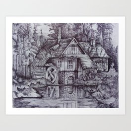 a boiler house in the forest with a stream. Art Print
