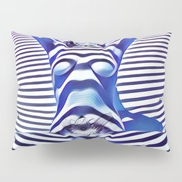 9665s-KMA_5201 Powerful Blue Woman Open Free Striped Sensual Sexy Abstract Nude Pillow Sham