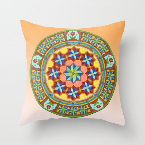 Westminster Mandala on Orange Ground Throw Pillow