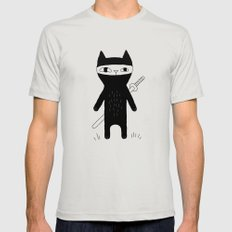 Ninja Cat Silver Mens Fitted Tee LARGE