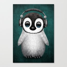 Cute Baby Penguin Dj Wearing Headphones on Blue Canvas Print