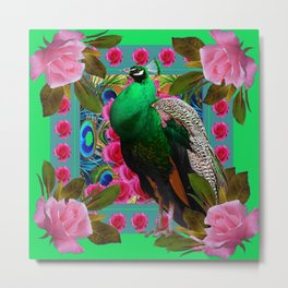 GREEN PEACOCK &  PINK ROSES MODERN GREEN ART Metal Print