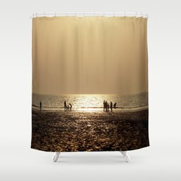 Sunset with family Shower Curtain