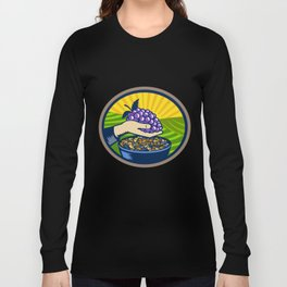 Hand Holding Grapes Raisins Oval Woodcut Long Sleeve T-shirt