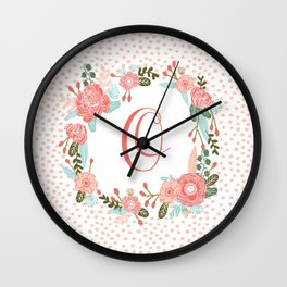 Monogram O - cute girls coral florals flower wreath, coral florals, baby girl, baby blanket Wall Clock