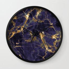 Majesty Purple Marble With 24-Karat Gold Hue Veins Wall Clock