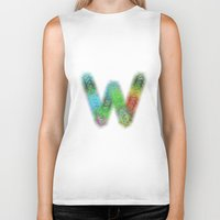 letter Biker Tanks featuring Letter W by David Zydd
